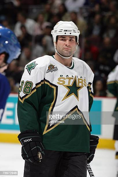 Eric Lindros of the Dallas Stars looks on against the Vancouver Canucks during Game 7 of the 2007 Western Conference Quarterfinals at General Motors...