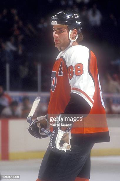 Eric Lindros of the Philadelphia Flyers looks on during a hockey game against the Washington Capitals on March 4 1994 at the USAir Arena in Landover...
