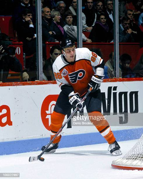 Eric Lindros of the Philadelphia Flyers skates against the Montreal Canadiens in the early 1993 at the Montreal Forum in Montreal Quebec Canada