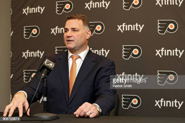 Eric Lindros of the Philadelphia Flyers speaks to media prior to his jersey retirement night before the Philadelphia Flyers play the Toronto Maple...