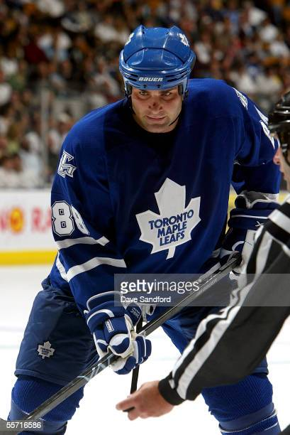 Eric Lindros of the Toronto Maple Leafs gets ready for a face-off against the Ottawa Senators during their pre-season game at the Air Canada Centre...