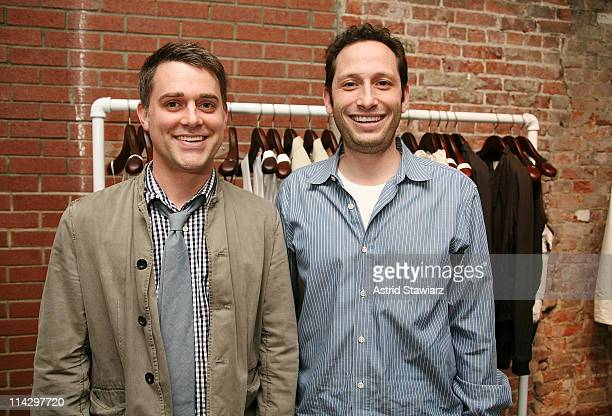 Eric Lobb and Aaron Weiss pose for photos at the celebration of Sloane Crosley's I Was Told There'd Be Cake at Helmut Lang on April 22, 2008 in New...