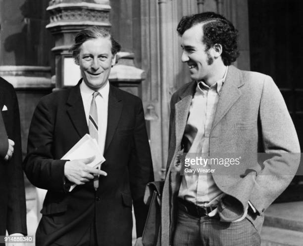 Eric Lubbock the 4th Baron Avebury formerly the Liberal MP for Orpington arrives to take his seat in the House of Lords London accompanied by Peter...