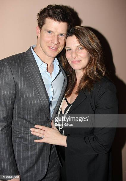 Eric Mabius and wife Ivy Sherman pose backstage at West Side Story on Broadway at the Palace Theatre on March 21 2009 in New York City