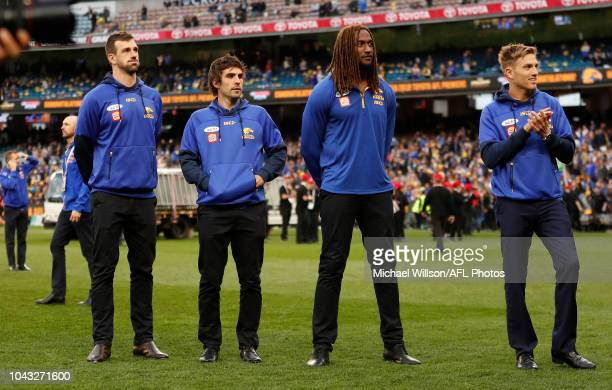 Eric Mackenzie of the Eagles Andrew Gaff of the Eagles Nic Naitanui of the Eagles and Brad Sheppard of the Eagles look on after the 2018 Toyota AFL...