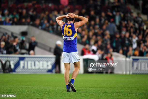 Eric Mackenzie of the Eagles reacts after the final siren during the AFL First Elimination Final match between Port Adelaide Power and West Coast...