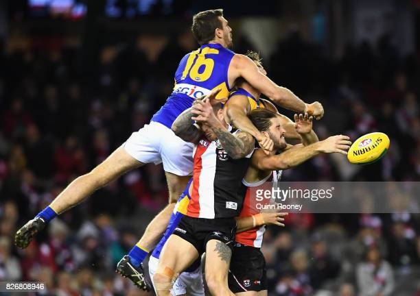 Eric Mackenzie of the Eagles spoils a mark by Josh Bruce of the Saints during the round 20 AFL match between the St Kilda Saints and the West Coast...