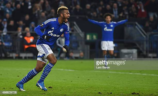 Eric Maxim Choupo Moting of Schalke celebrates after scoring his teams first goal during the UEFA Europa League Group K match between FC Schalke 04...
