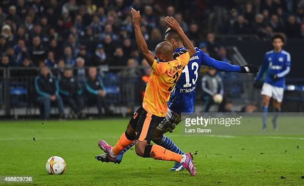 Eric Maxim Choupo Moting of Schalke scores his teams first goal during the UEFA Europa League Group K match between FC Schalke 04 and APOEL FC on...
