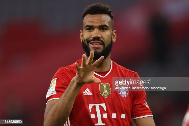 Eric Maxim Choupo-Moting of Bayern München celebrates scoring the opening goal during the Bundesliga match between FC Bayern München and Bayer 04...