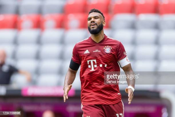 Eric Maxim Choupo-Moting of Bayern Muenchen looks on during the Audi Football Summit Match between FC Bayern Muenchen and Ajax Amsterdam at Allianz...