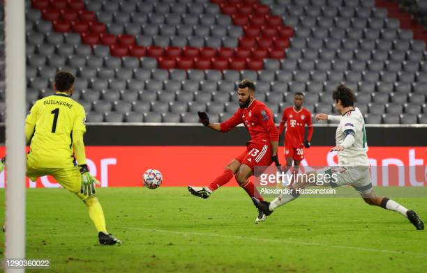 Eric Maxim Choupo-Moting of Bayern Munich scores their team's second goal during the UEFA Champions League Group A stage match between FC Bayern...