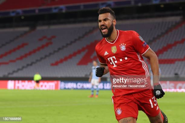 Eric Maxim Choupo-Moting of FC Bayern München celebrates scoring the second team goal during the UEFA Champions League Round of 16 match between...