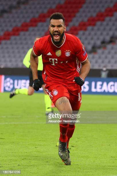 Eric Maxim Choupo-Moting of FC Bayern Muenchen celebrates after scoring their team's second goal during the UEFA Champions League Round of 16 match...