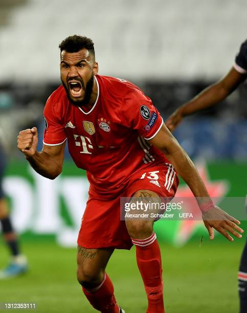 Eric Maxim Choupo-Moting of FC Bayern Muenchen celebrates after scoring their team's first goal during the UEFA Champions League Quarter Final Second...