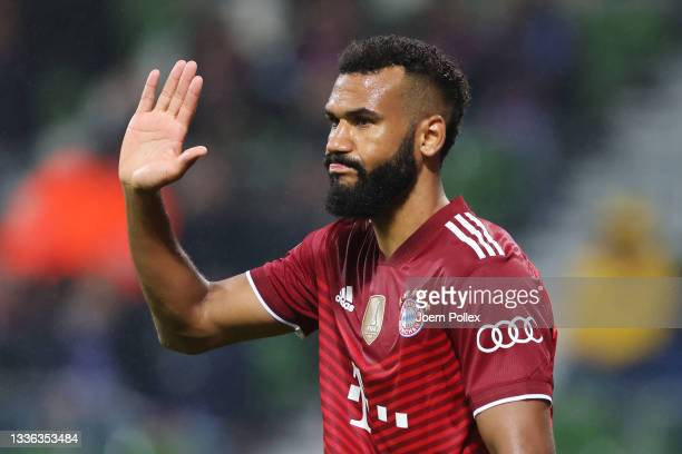 Eric Maxim Choupo-Moting of FC Bayern Muenchen celebrates after scoring their team's fifth goal during the DFB Cup first round match between Bremer...