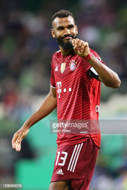 Eric Maxim Choupo-Moting of FC Bayern Muenchen celebrates after scoring their team's tenth goal during the DFB Cup first round match between Bremer...