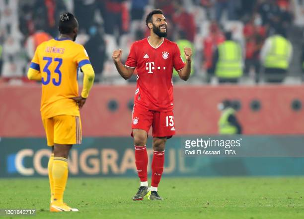 Eric Maxim Choupo-Moting of FC Bayern Muenchen celebrates their team's victory at full-time after the FIFA Club World Cup Qatar 2020 Final between FC...