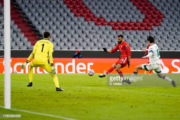Eric Maxim Choupo-Moting of FC Bayern Muenchen scores his team's second goal during the UEFA Champions League Group A stage match between FC Bayern...