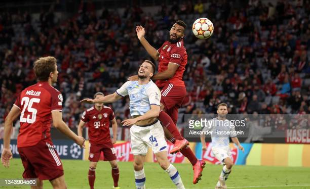 Eric Maxim Choupo-Moting of FC Bayern Muenchen scores their side's fifth goal during the UEFA Champions League group E match between FC Bayern...