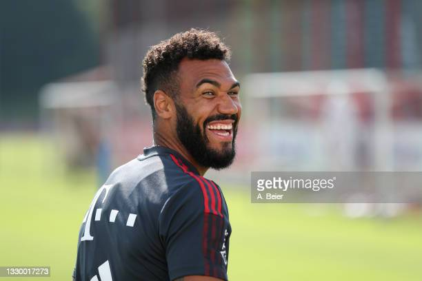 Eric Maxim Choupo-Moting of FC Bayern Muenchen smiles during a training session at the club's Saebener Strasse training ground on July 22, 2021 in...