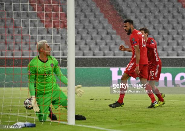 Eric Maxim Choupo-Moting of FC Bayern Munich celebrates after scoring their side's first goal past Keylor Navas of Paris Saint-Germain during the...