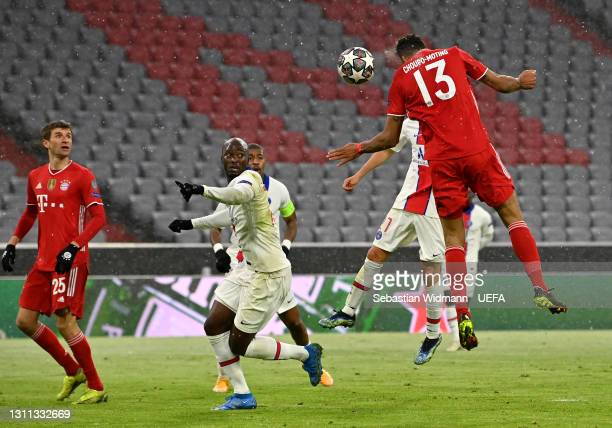 Eric Maxim Choupo-Moting of FC Bayern Munich scores their side's first goal during the UEFA Champions League Quarter Final match between FC Bayern...