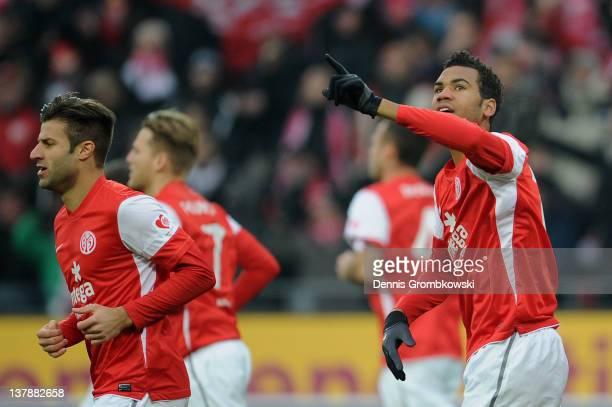 Eric Maxim Choupo-Moting of Mainz celebrates after scoring his team's opening goal during the Bundesliga match between FSV Mainz 05 and SC Freiburg...