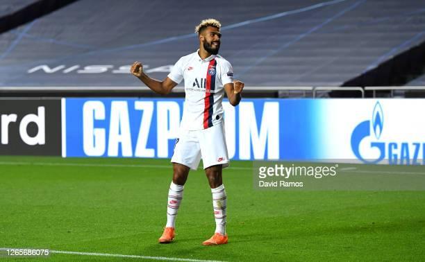Eric Maxim Choupo-Moting of Paris Saint-Germain celebrates after scoring his team's second goal during the UEFA Champions League Quarter Final match...