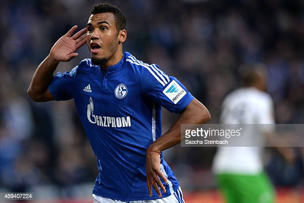 Eric Maxim Choupo-Moting of Schalke celebrates after scoring his team's second goal during the Bundesliga match between FC Schalke 04 and VfL...