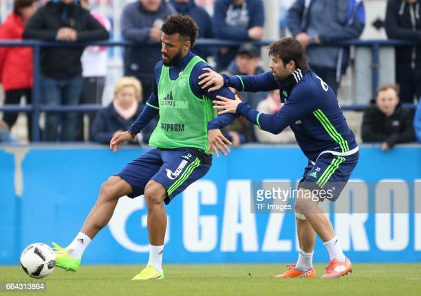 Eric Maxim CHOUPOMOTING of Schalke Coke of Schalke battle for the ball during a training session at the Schalke 04 Training center on March 29 2017...
