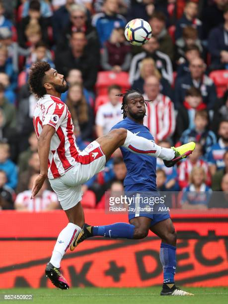Eric Maxim ChoupoMoting of Stoke City and Victor Moses of Chelsea during the Premier League match between Stoke City and Chelsea at Bet365 Stadium on...