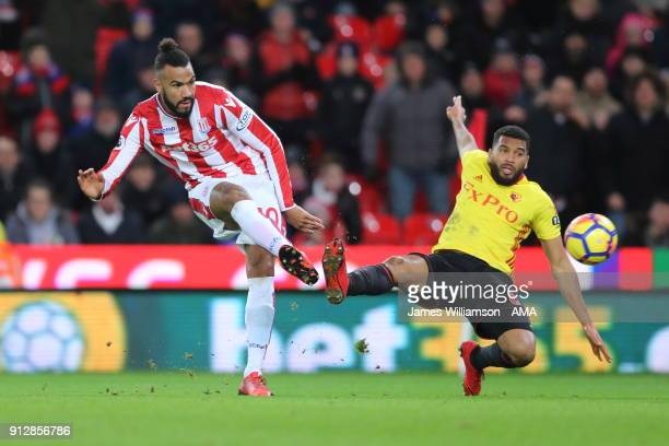 Eric Maxim ChoupoMoting of Stoke City during the Premier League match between Stoke City and Watford at Bet365 Stadium on January 31 2018 in Stoke on...