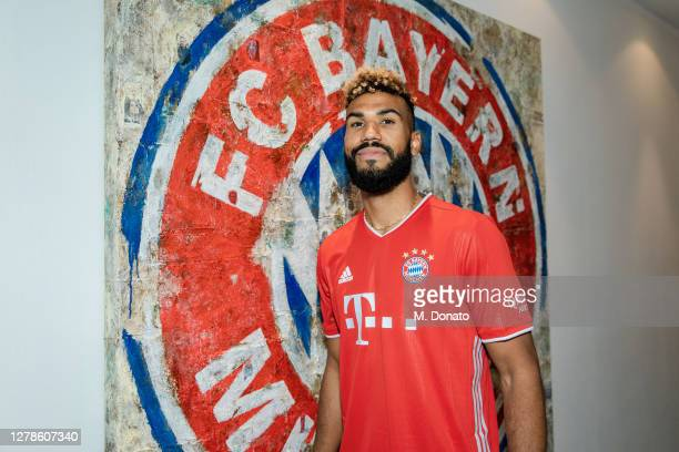 Eric Maxim Choupo-Moting poses after he signed a contract with FC Bayern Muenchen at Saebener Strasse training ground on October 05, 2020 in Munich,...