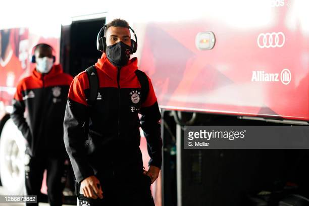 Eric Maxim ChoupoMoting wears a face mask as he arrives at the stadium prior the Bundesliga match between FC Bayern Muenchen and SV Werder Bremen at...