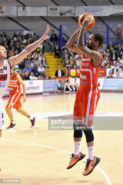 Eric Maynor of Openjobmetis competes with Hrvoje Peric of Umana during the LegaBasket of Serie A1 match between Reyer Umana Venezia and Openjobmetis...