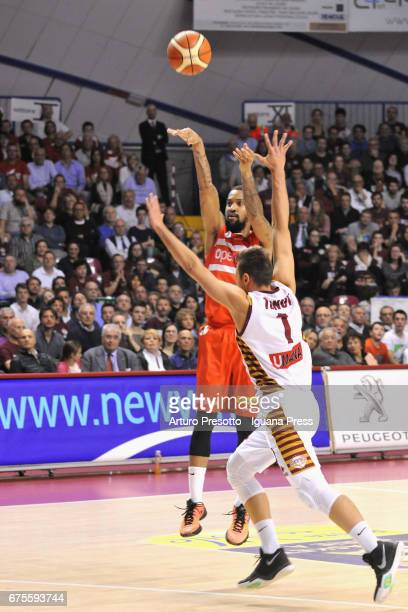 Eric Maynor of Openjobmetis competes with Stefano Tonut of Umana during the LegaBasket of Serie A1 match between Reyer Umana Venezia and Openjobmetis...