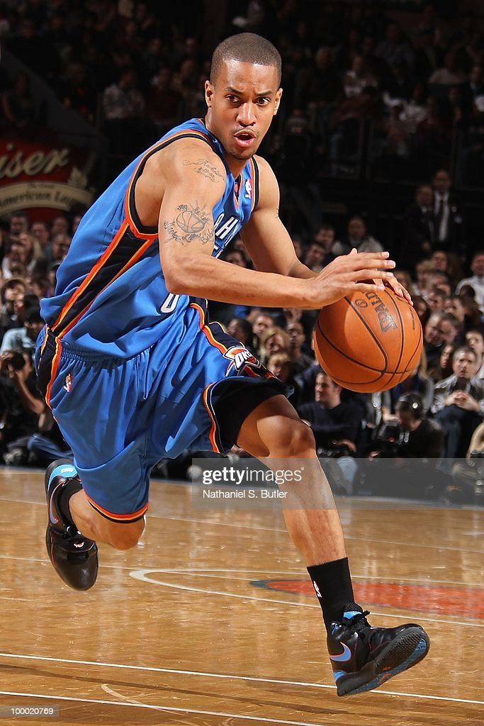 Eric Maynor #6 of the Oklahoma City Thunder dribbles during the game against the New York Knicks on February 20, 2010 at Madison Square Garden in New York City. The Thunder won 121-118 in overtime.