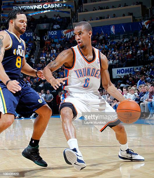 Eric Maynor of the Oklahoma City Thunder drives on Deron Williams of the Utah Jazz on October 31 2010 at the Ford Center in Oklahoma City Oklahoma...