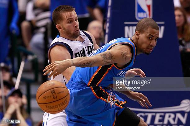 Eric Maynor of the Oklahoma City Thunder goes after the ball as he is guarded by Jose Juan Barea of the Dallas Mavericks in the fourth quarter in...