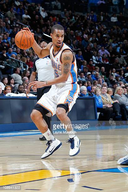 Eric Maynor of the Oklahoma City Thunder moves the ball against the Memphis Grizzlies on February 8 2011 at the Oklahoma City Arena in Oklahoma City...