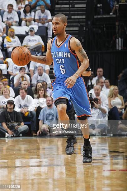 MEMPHIS TN MAY Eric Maynor of the Oklahoma City Thunder moves the ball against the Memphis Grizzlies in Game Six of the Western Conference semifinals...