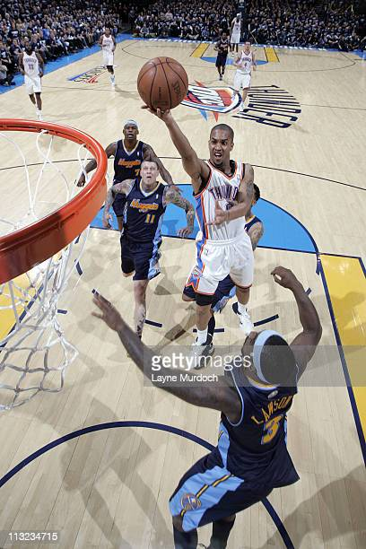 Eric Maynor of the Oklahoma City Thunder shoots against Ty Lawson of the Denver Nuggets in Game Five of the Western Conference Quarterfinals on April...