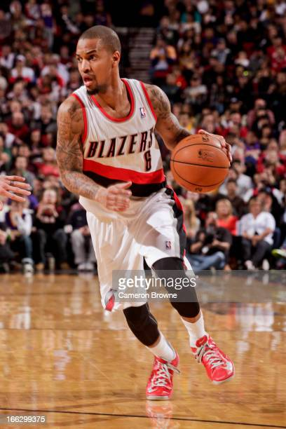 Eric Maynor of the Portland Trail Blazers advances the ball against the Los Angeles Lakers on April 10 2013 at the Rose Garden Arena in Portland...