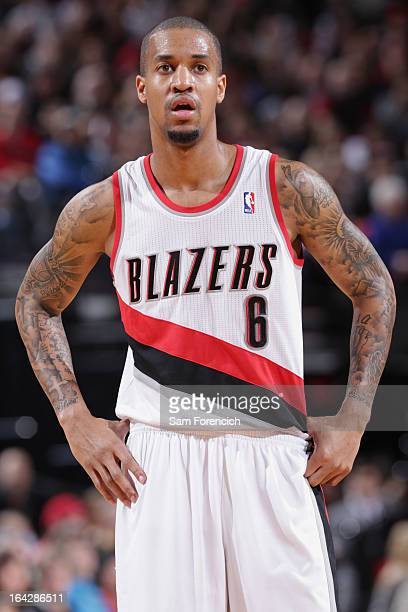 Eric Maynor of the Portland Trail Blazers stands on the court during the game against the Minnesota Timberwolves on March 2 2013 at the Rose Garden...