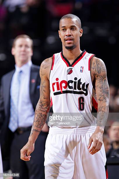 Eric Maynor of the Portland Trail Blazers waits to resume action in his debut game for the team against the Boston Celtics on February 24 2013 at the...
