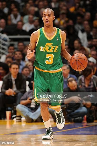 Eric Maynor of the Utah Jazz drives the ball to the basket during the game against the Los Angeles Lakers on December 9 2009 at Staples Center in Los...