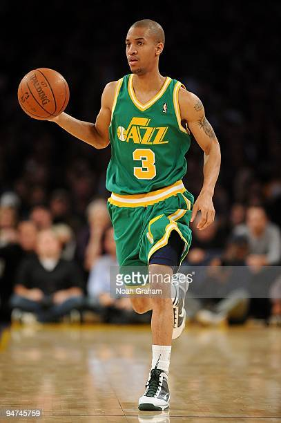 Eric Maynor of the Utah Jazz drives the ball up court during the game against the Los Angeles Lakers on December 9 2009 at Staples Center in Los...