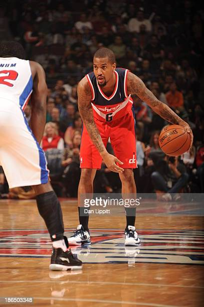 Eric Maynor of the Washington Wizards dribbles the ball against the Detroit Pistons during the game on October 30 2013 at The Palace of Auburn Hills...