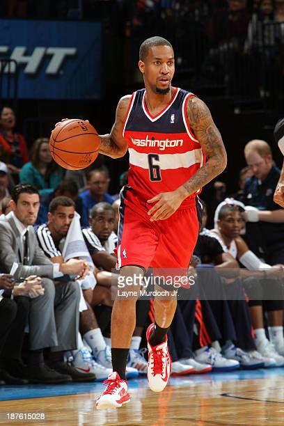 Eric Maynor of the Washington Wizards dribbles up the court against the the Oklahoma City Thunder during an NBA game on November 10 2013 at the...